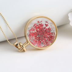 Amazon.com: Gmai Women's Beads Chain Pressed Flower in Round Glass Pendant Necklace Red Color: Clothing