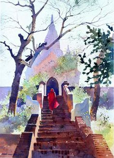 Returning after Collecting Alms by Myoe Win Aung - watercolour