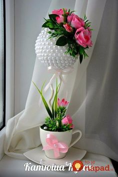 Amazing romantic flower decorations on valentines day 33 Floating Tea Cup, Topiary Centerpieces, Teacup Crafts, Romantic Flowers, Flower Crafts, Flower Decorations, Paper Flowers, Floral Arrangements, Diy And Crafts