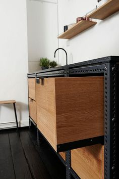 A simple but stylish kitchenette at the offices of magazine Soundvenue by Danish design studio ...