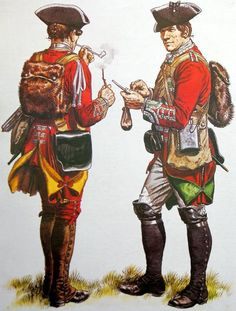 Corporal of the 40th and Private Sentinel of the 45th. These two are wearing some non-regulation modifications, namely the beaver skin backpacks (G.A. Embleton)
