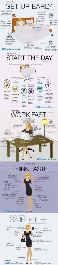 Una infografía con distintos consejos y trucos para aumentar la productividad, algo imprescindible para emprendedores y quienes buscan el éxito.