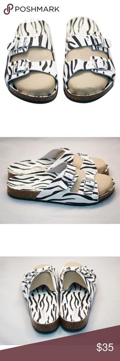 Topshop Unisex Leather Print Zebra Sandals 100% authentic unisex topshop leather sandals || made in italy || size women US 11.5 / Men US 9.5 || brand new never worn || msrp $50 Topshop Shoes Sandals