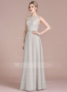 A-Line/Princess Scoop Neck Floor-Length Zipper Up Spaghetti Straps Sleeveless No Other Colors Spring Summer Fall Winter General Plus Chiffon Lace Height:5.7ft Bust:33in Waist:24in Hips:34in US 2 / UK 6 / EU 32 Bridesmaid Dress