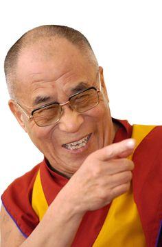 Smiling, laughing, pointing. Dali Lama
