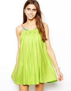 Aand a brilliant beacg dress in bright colour?! - ASOS Beaded Necklace Trim Beach Dress
