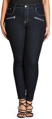 City Chic Glam Zip Skinny Jeans (Dark Denim) (Plus Size) #plus #jeans