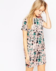 ASOS Shift Dress in Abstract Print