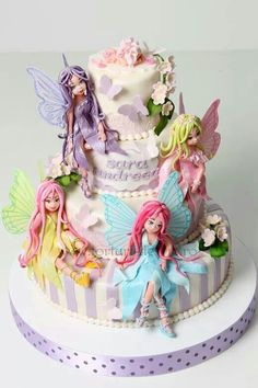 Christening cake with fairies - Cake by Viorica Dinu Girly Cakes, Fancy Cakes, Cute Cakes, Pink Cakes, Fairy Birthday Cake, Birthday Cake Girls, Gorgeous Cakes, Amazing Cakes, Fantasy Cake