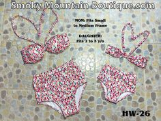 Matching Mom and Daughter High Waist Swimsuit (Multi Color Design) HW26 - Smoky Mountain Boutique