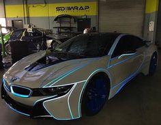 BMW i8 with White Tron Wrap .  Follow @MyaaFranee for more luxurious lifestyle posts ✨