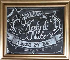 Hand drawn Customized Wedding Chalkboard Sign