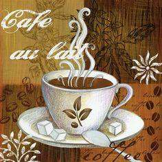 Coffee Break Cafe Au Lait by Elena Vladykina Fine Art Canvas 12 x 12 in Gallery Wrap Wall Decor I Love Coffee, Coffee Break, Café Vintage, Café Chocolate, Tea Art, Decoupage Paper, Oui Oui, Coffee Cafe, Wall Art Sets