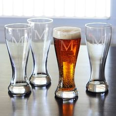 Personalized Pilsner Glasses (Set of 4)   Overstock.com Shopping - The Best Deals on Beer Glasses