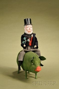 Paddy and the Pig Candy Container, Germany, c. molded composition bearded Irish gentleman with top hat, with ca. Holiday Candy, Christmas Candy, Vintage Candy, Vintage Toys, Pig Candy, Erin Go Bragh, Pull Toy, Candy Containers, Vintage Easter