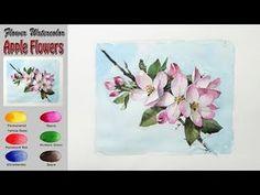 사과꽃 - 꽃 수채화 그리기 Apple Flowers - watercolor on Arches (Rough) - YouTube