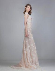 Fall 2016 Victoria KyriaKides blush sheath wedding dress with embroidery | https://www.theknot.com/content/victoria-kyriakides-wedding-dresses-bridal-fashion-week-fall-2016