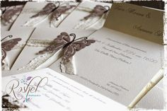 Hand Made Wedding invitation butterfly  http://roshel-weddings-and-co.blogspot.it/2015/03/arianna-e-luca-le-loro-partecipazioni.html