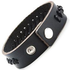 50 Shades of Black Men's Genuine Leather Bracelet Cuff Adjustable 27 mm