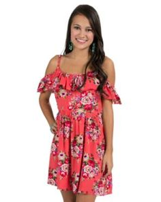 PPLA Women' Coral Floral Off Shoulder Dress