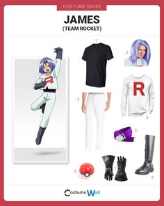 Become a member of Team Rocket as James, who is always trying to steal Ash Ketchum's Pikachu in Pokemon. Team Costumes, Got Costumes, Pokemon Costumes, Couple Halloween Costumes, Halloween Cosplay, Costume Ideas, Halloween 2019, Cosplay Ideas, Cosplay Diy