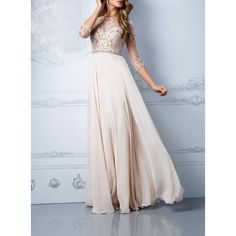Three Sleeve Beading Handmade Formal Evening Gowns,Chiffon Prom