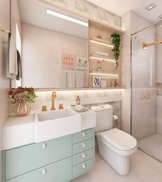 : Cute pastel themed bathroom with a little bit of a vintage feel. (Home décor co. Cute pastel themed bathroom with a little bit of a vintage feel. (Home décor color schemes, home d bathroom bit Cute cutehomedecor decor feel home homedecoraccessorie Cute Home Decor, Home Design Decor, House Design, Bad Inspiration, Bathroom Inspiration, Bathroom Ideas, Bathroom Design Small, Bathroom Interior Design, House Rooms