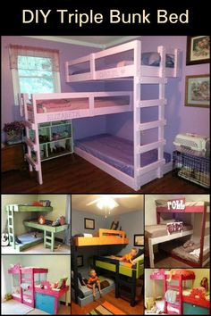 These Triple Bunk Beds Make Good Use of Space in a Shared Bedroom How To Make Bed, Cool Things To Make, Triple Bunk Beds, Easy Diy Projects, Small Spaces, New Homes, Earthship, Bedroom, House
