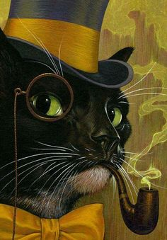"""Certain Something"" by Boris Pelcer. Acrylic on Illustration Board. Cute Kittens, Cats And Kittens, Cool Cats, Art Et Illustration, Illustrations, Chat Steampunk, Animal Gato, Image Chat, Gatos Cats"