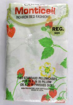 vintage cannon monticello 2 standard strawberry pillow case nip