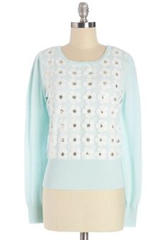Sweetness You Can Sequin Sweater. Your always-sweet demeanor never goes unnoticed, and its even more evident when youre wearing this mint sweater by Darling. #mint #modcloth