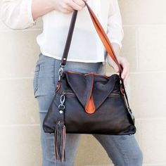 Aine Baby in Coco brown  and orange leather