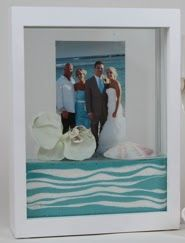 My bride & groom, (Quinn and Matt) used sand from Florida and Sand from Michigan, the grooms' home.