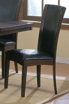 """Set of 2 Modern Contemporary Style Daisy Collection Dining Chairs by Homelegance. $190.16. Some assembly may be required. Please see product details.. Set of 2 Modern Contemporary Style Daisy Dining Chairs. Dining and Kitchen->Seating->Wood Chairs. Dining and Kitchen. Set of 2 Modern Contemporary Style Daisy Collection Dining Chairs  You will receive a total of 2 side chairs. Side Chair: 20.5""""W 24.5""""D 40""""H Finish: Espresso Material: Solid Hardwood and Bi-Cast Leather S..."""
