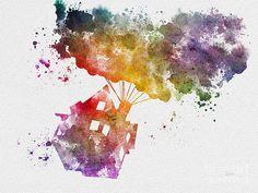 Illustration de Disney Up ART PRINT technique mixte par SubjectArt Disney Up, Disney And More, Disney Marvel, Disney Fan Art, Disney Dream, Watercolor Splatter, Splatter Art, Watercolor Disney, Watercolor Painting