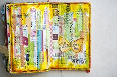 This page is all covered with different pieces of patterned paper. A Butterfly, some rubons, stamps, etc and ta-da! SO Inspirational!