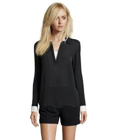 L'Agence black silk crepe folding collar v-neck blouse