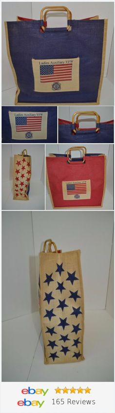 Ladies Auxillary VFW Tote Bag Burlap Veterans of Foreign Wars American Legion www.ebay.com