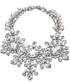 Otazu Silver Pearl and Swarovski Crystal Bib Necklace on shopstyle.com