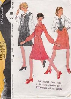 McCalls 3118 (Bust 44) Original vintage sewing pattern.