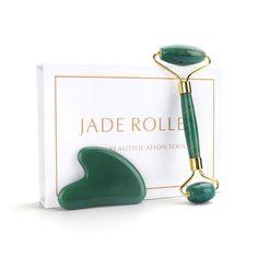 Roller Slimming Face Massage Lifting Tool Natural Jade Facial Massage Roller Stone Skin Massage Beauty Care Set Box - Green one box