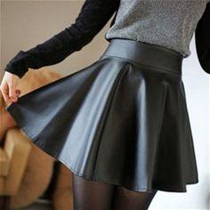 Leatherette Short Skirt - Black
