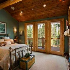 Lakota Lodge - Town + Country Cedar Homes Cabin Homes, Log Homes, Style At Home, Log Cabin Bedrooms, Cedar Homes, Home Decor Bedroom, Bedroom Ceiling, My New Room, Beautiful Bedrooms