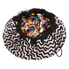 A Play & Go Black Zig Zag Playmat - the perfect toy storage and playmat in one. The Black Zig Zag Playmat Bag is a simple and effective solution to toy storage - a two-in-one storage bag that doubles as a play mat. Toy Storage Bags, Lego Storage, Play N Go, Go Bags, Activity Toys, Toy Kitchen, Zig Zag, Gifts For Kids, Kids Toys
