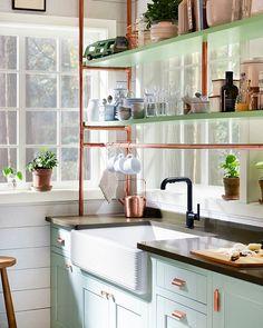 Minty goodness. ( c/o Kohler � Design: @kimlewisdesigns) #onstandsnow #kitchendesign #homesweethome