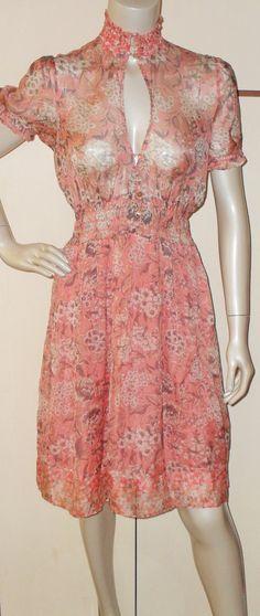 Vintage 1980s Keyhole silk dress 4728 by AuntyDollsWardrobe