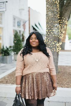 Musings of a Curvy Lady, Plus Size Fashion, Fashion Blogger, Women's Fashion, Charlotte Russe Plus, Charlotte Russe, Sequin Skater Skirt, Sequin Skirt, Gold Sequins, Polka Dot Tights, Glam Outfit, StyleWatch Magazine, Style Hunter, #REALOUTFITGRAM, #MCBeautyRoadShow
