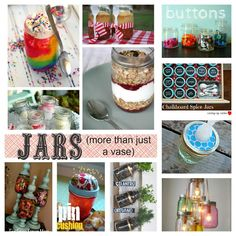 mason jars --it's more than just a vase! soap dispenser, lamps, herb garden, food in a jar..it's all here!!!!