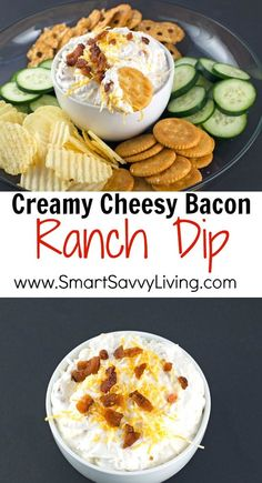 Creamy Cheesy Bacon Ranch Dip Recipe | This easy ranch dip is sure to be one of your guests favorite game day appetizers recipes. The first time I made this as a test recipe, we loved it so much it kind of turned into dinner. At least it helped me eat more veggies! AD NaturallyFreshRecipes