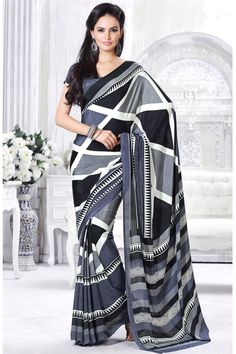Casual Printed Grey And Black Color Saree